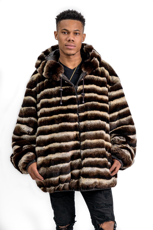 M33 2 Mans Chinchilla Rex Fur Leather Parka