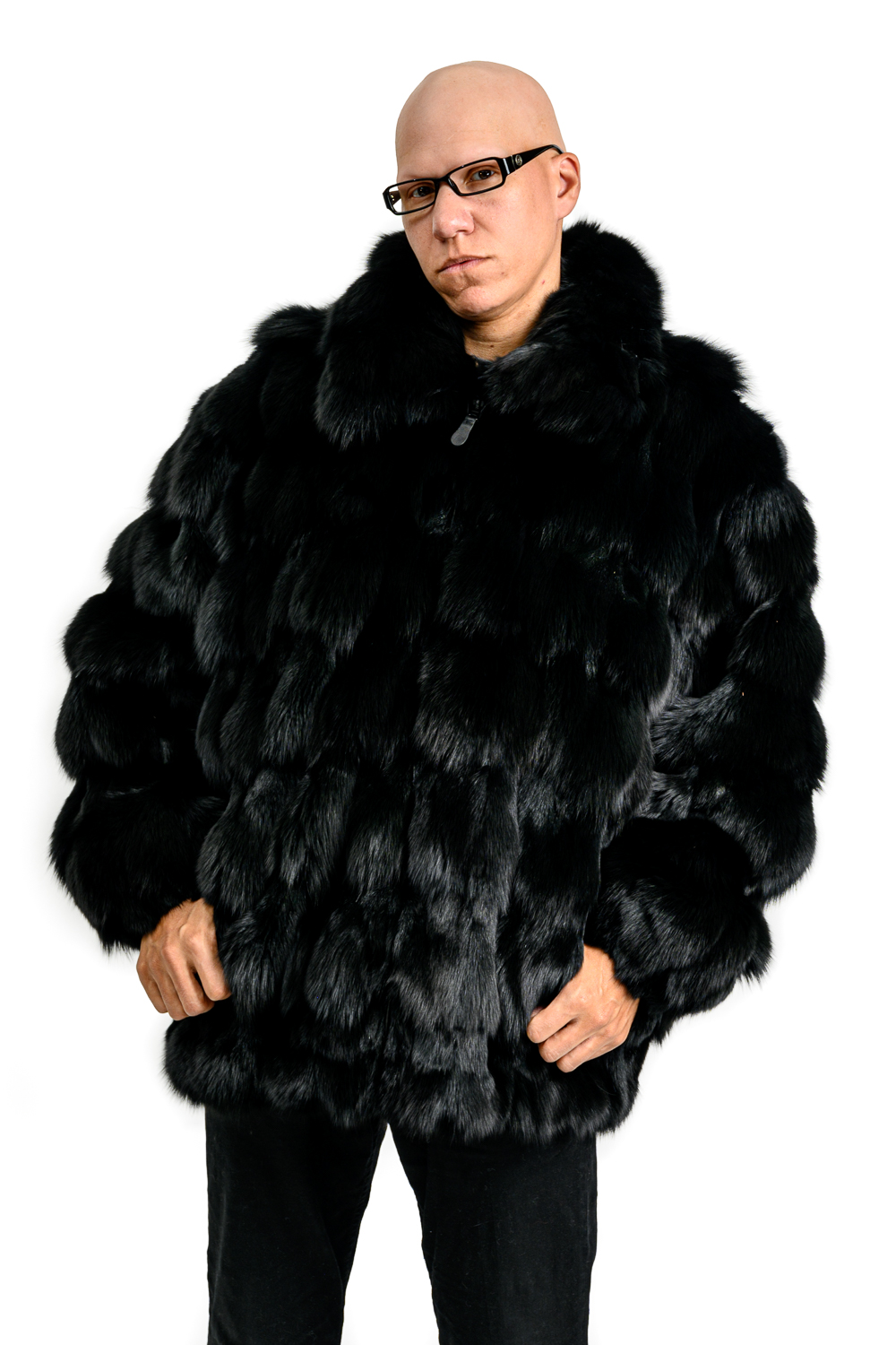 M37 2 Mans Black Fox Fur Sections Jacket