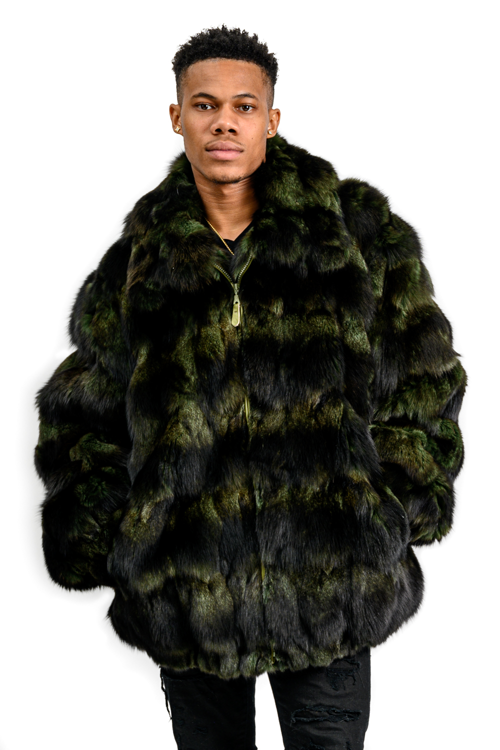 M38 2 Mans Green Fox Fur Sections Jacket