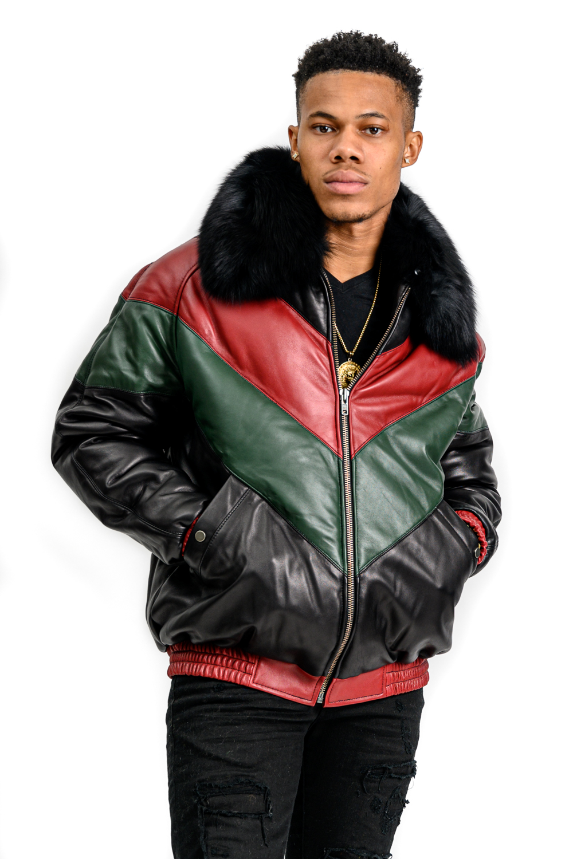 M45 2 Mans Red Green Black Puffer wtih Fox Fur