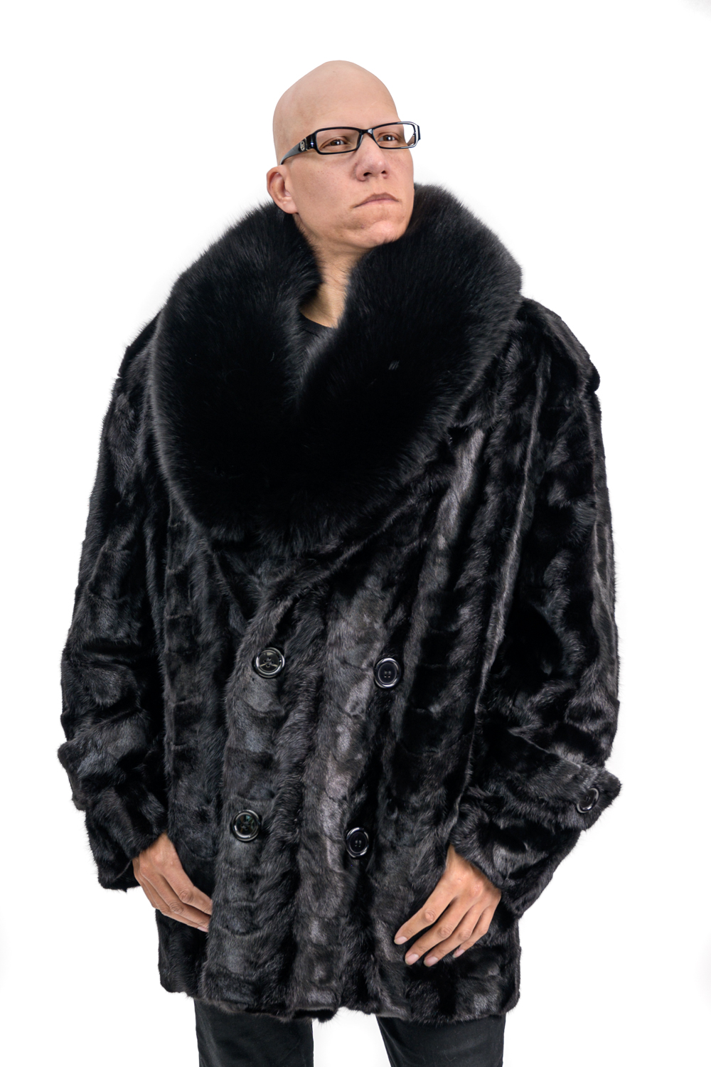 M5 2 Mans Mink Paws Fur Carcoat with Fox