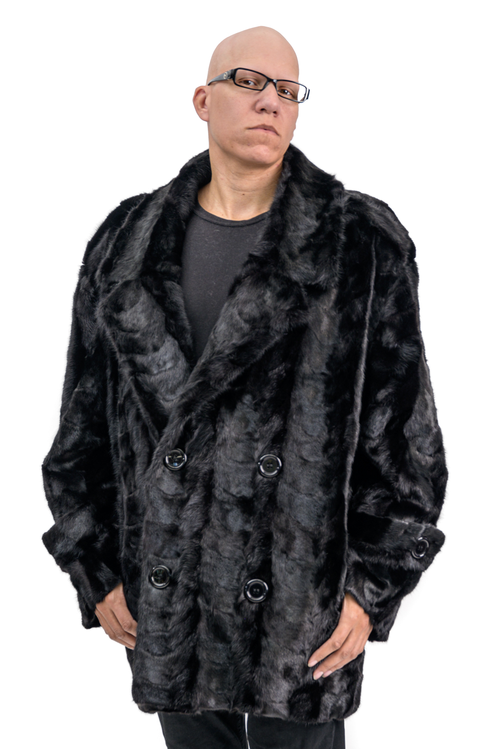 M5 5 Mans Mink Paws Fur Carcoat with Fox