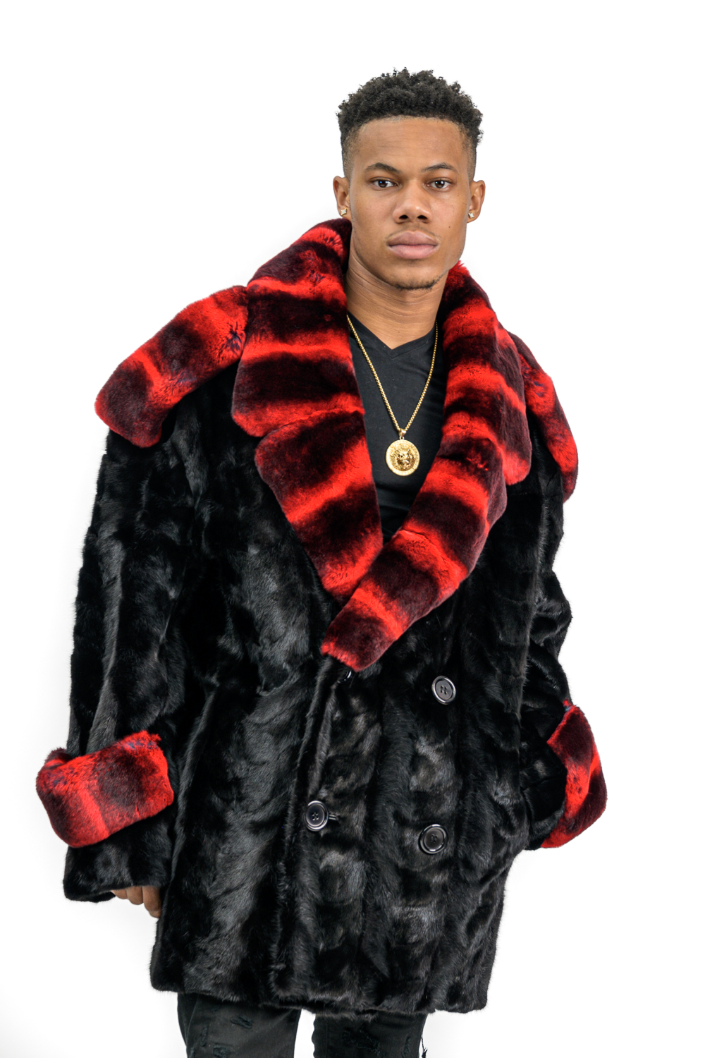 M7 3 Mens MInk Paws Jacket with Red Chinchilla Rex