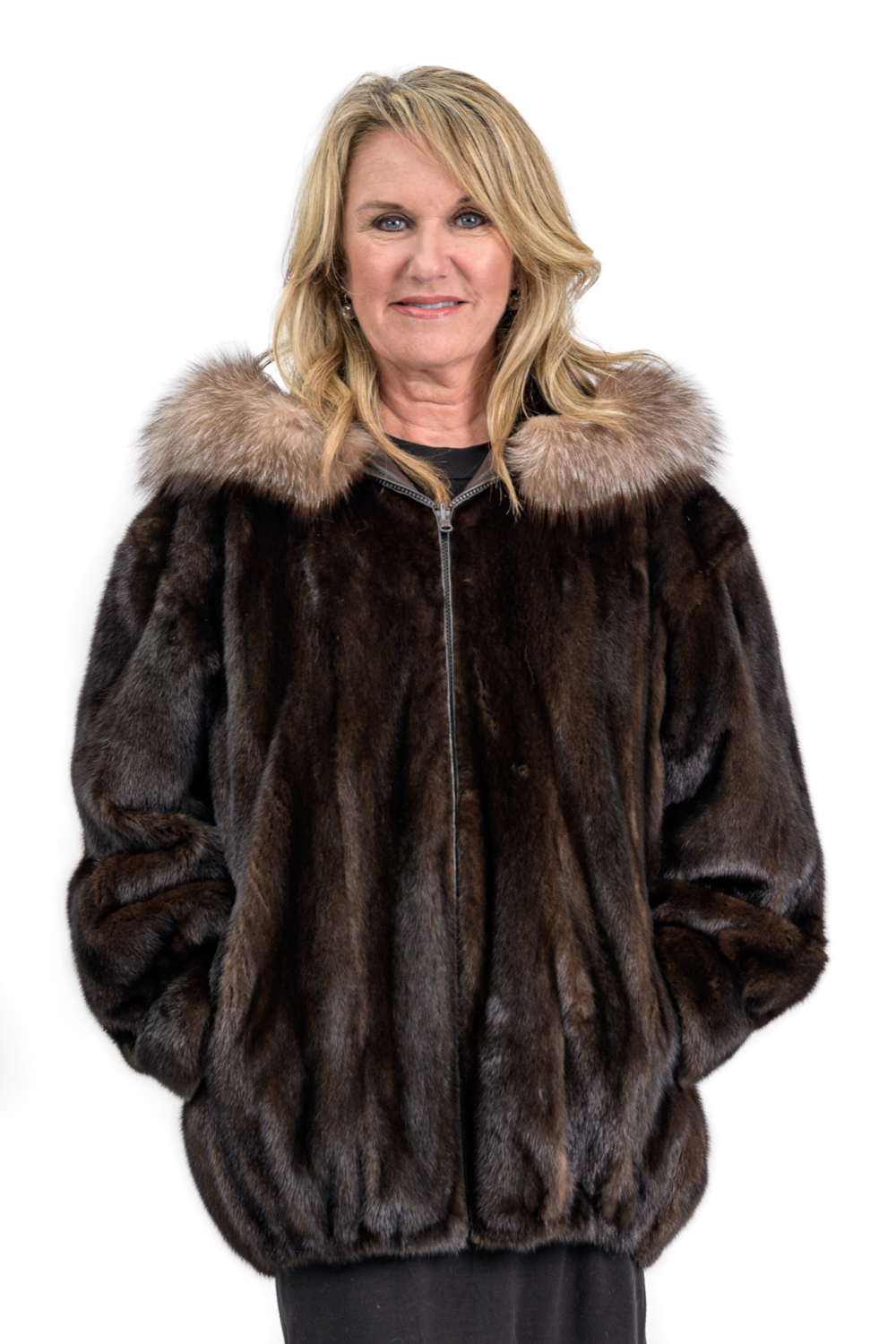 W15 2 Reversible Mink Fur Leather Jacket