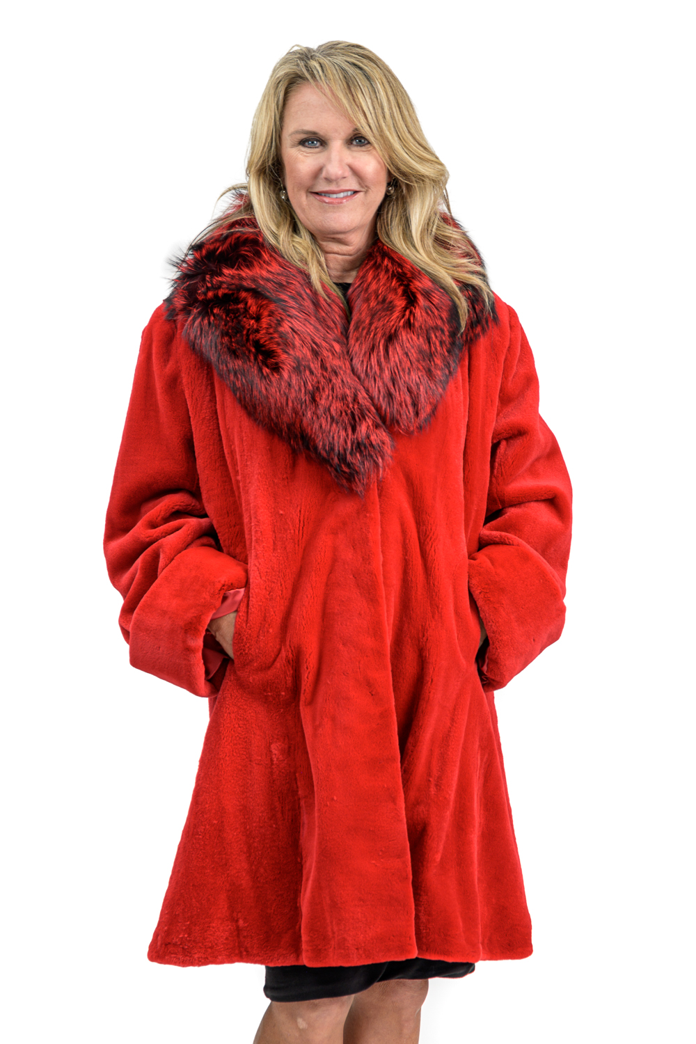 W16 2 Red Sheared Mink Fur Coat with Fox