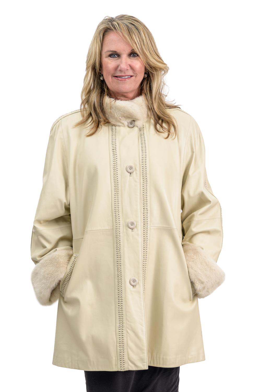 W22 2 Cabretta Lamb Leather Jacket with Mink Fur