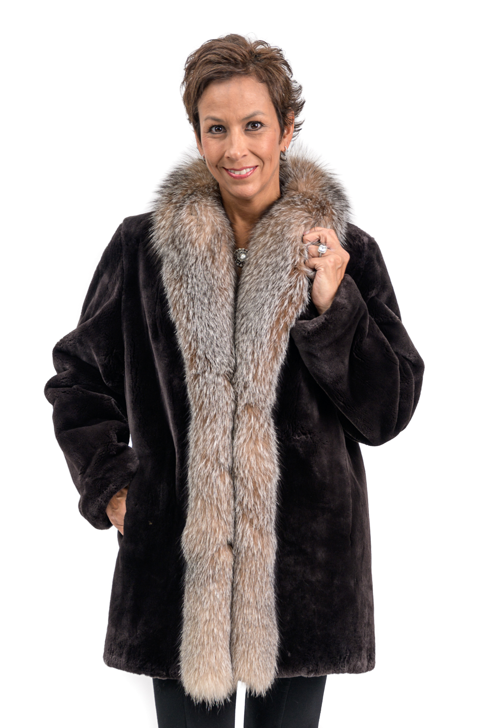 W27 2 Sheared Beaver Fur Jacket with Fox