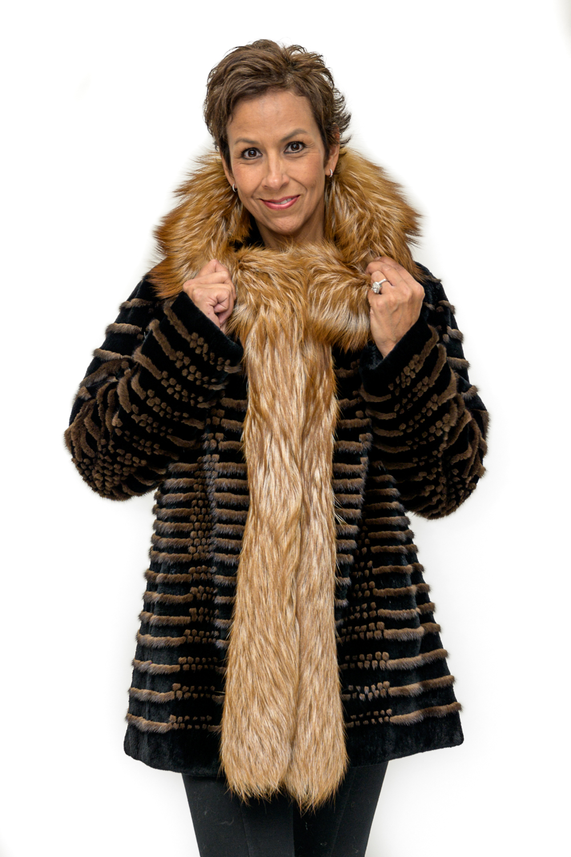 W34 2 Sheared Beaver Fur Parka with Fox Trim
