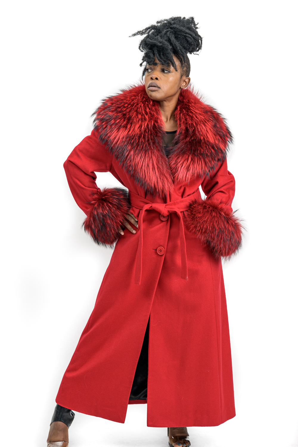 W37 2 Belle Fare Red Cashmere with Raccoon Fur