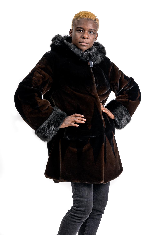 W51 2 Nuage Faux Sheared Beaver Coat
