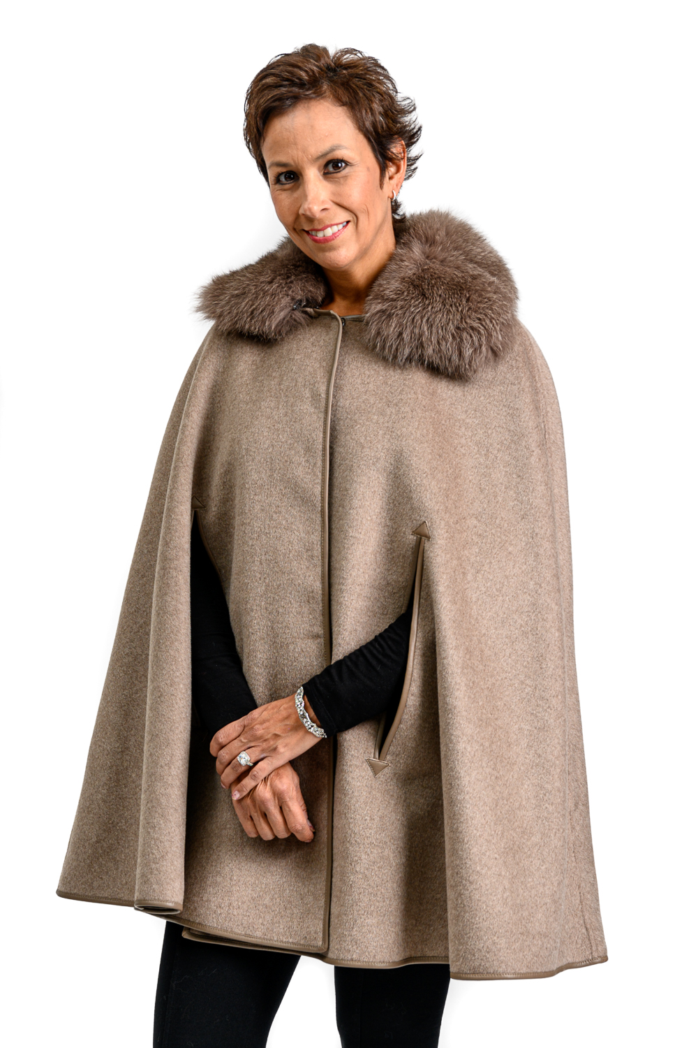 W59 2 Cashmere Cape with Fox Fur