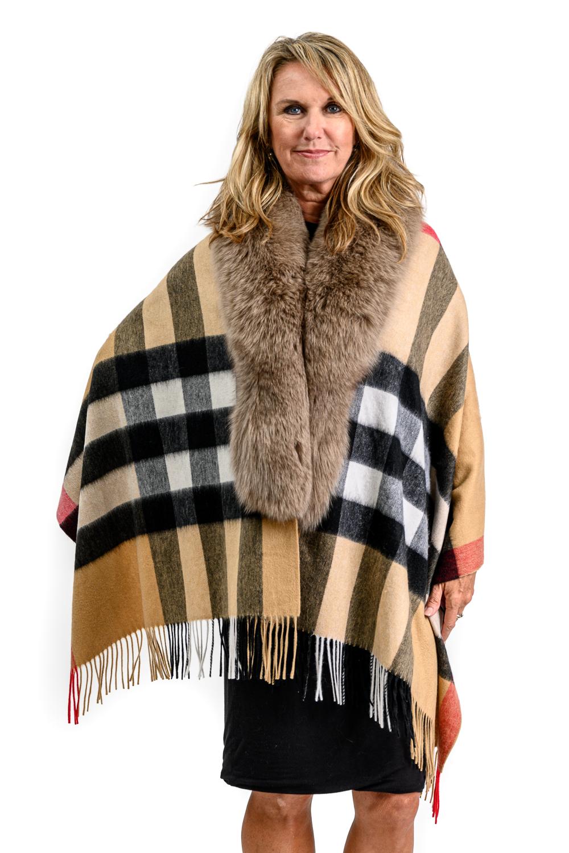 W63 2 Tartan cashmere blend cape with fox fur