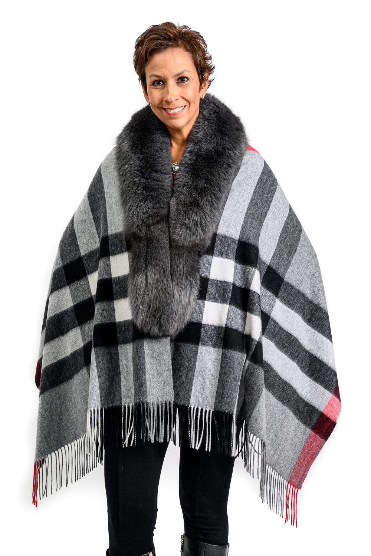 W64 2 Tartan cashmere blend cape with fox fur