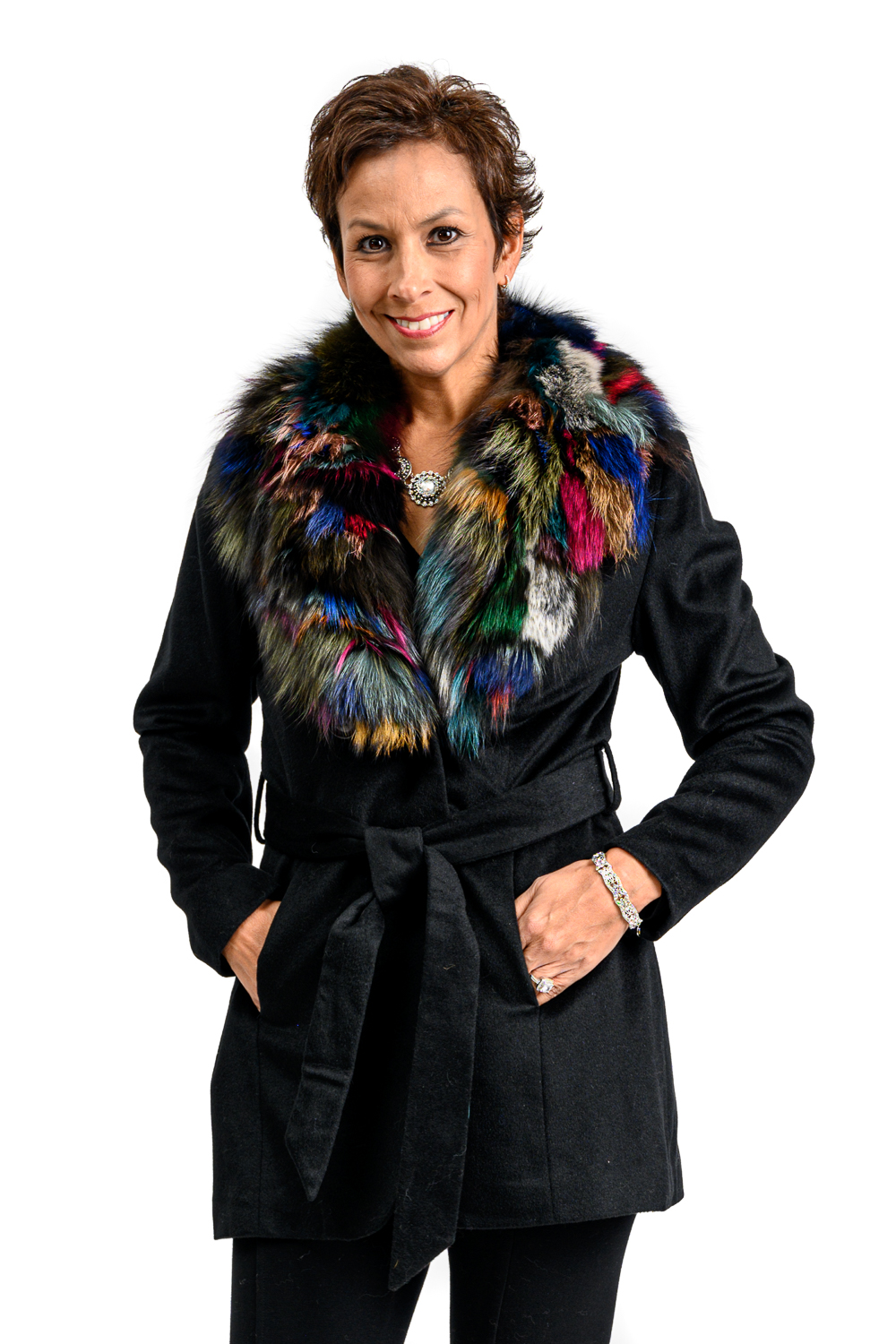 W71 2 Belle Fare Cashmere with Fox Fur