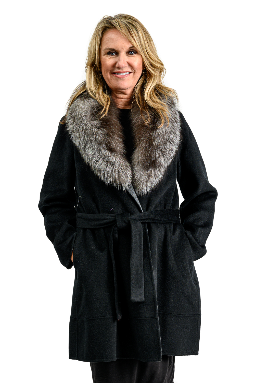 W70 2 Cashmere Wrap Coat with Fox Fur