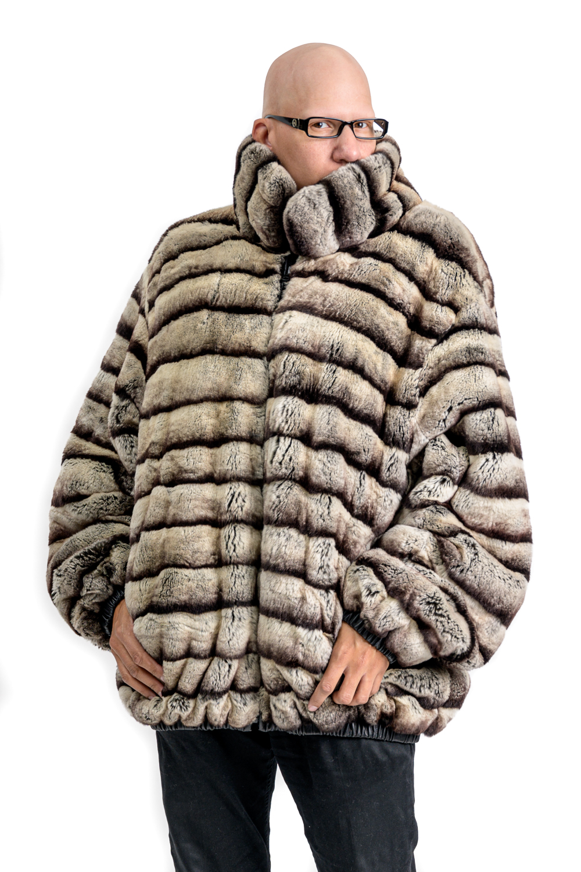 M31 2 Chinchilla Rex Fur Mans Jacket Reverse To Lamb Leather