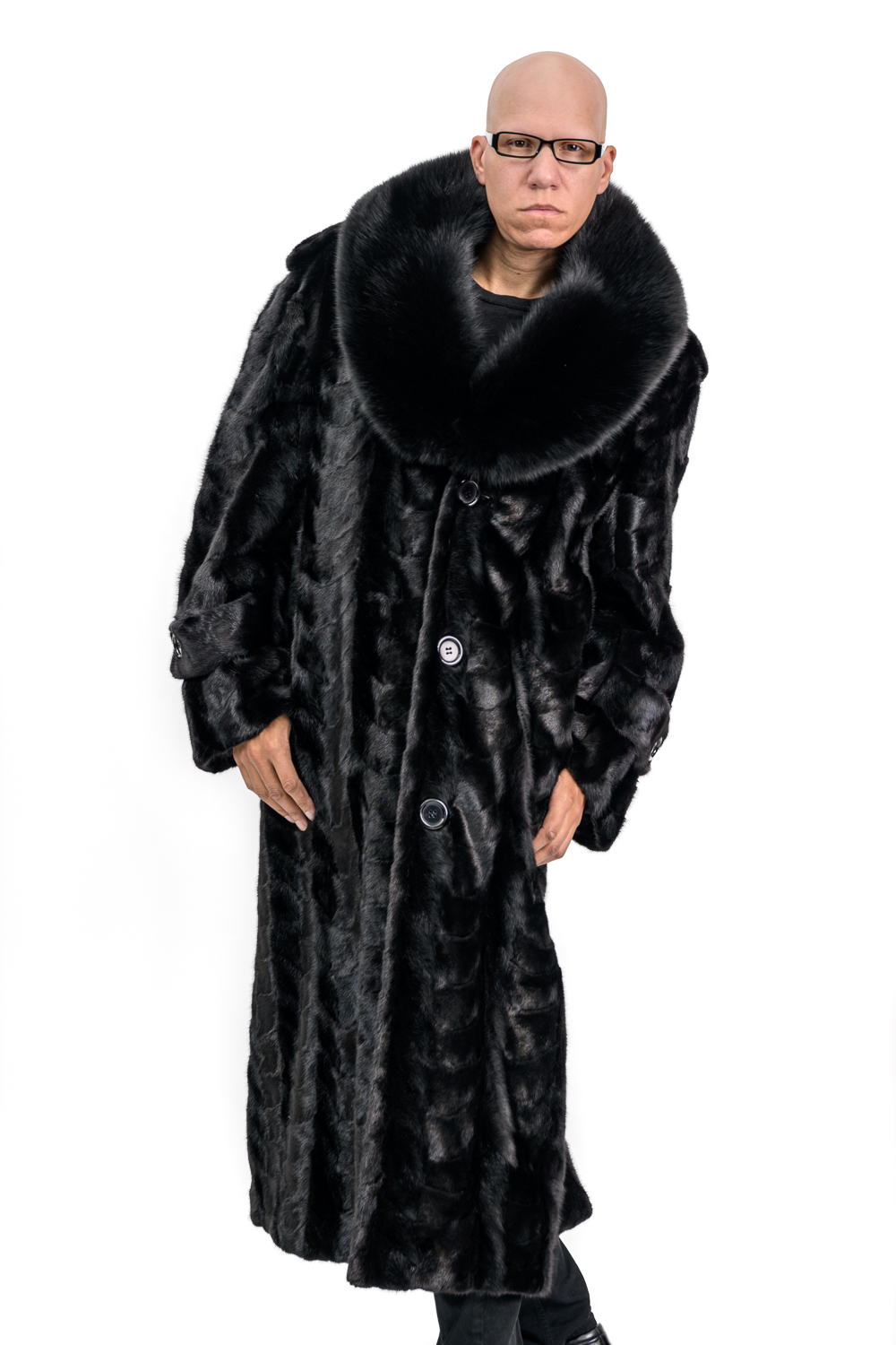 M6a 2 Mans Mink Fur Coat with Fox Collar
